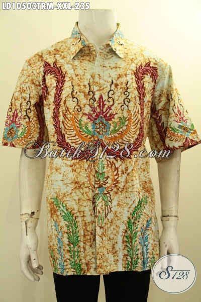 Hem Batik Tulis Pendek F60417022bru Kemeja Batik Terbaru Murah kemeja batik lengan pendek pria gemuk hem batik halus motif terbaru tulis remekan big size