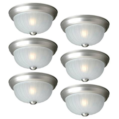 shop project source 13 in w brushed nickel led ceiling flush mount light at lowes shop project source 6 pack 10 in w painted brushed nickel ceiling flush mount lights at lowes