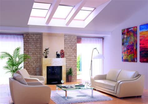 living room com living rooms with skylights
