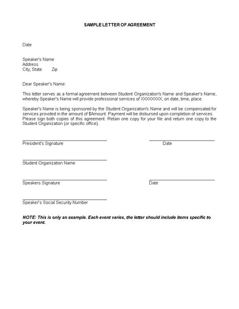 service agreement letter templates