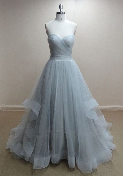 Handmade Evening Dresses - handmade grey tulle gown prom dresses 2015 grey prom