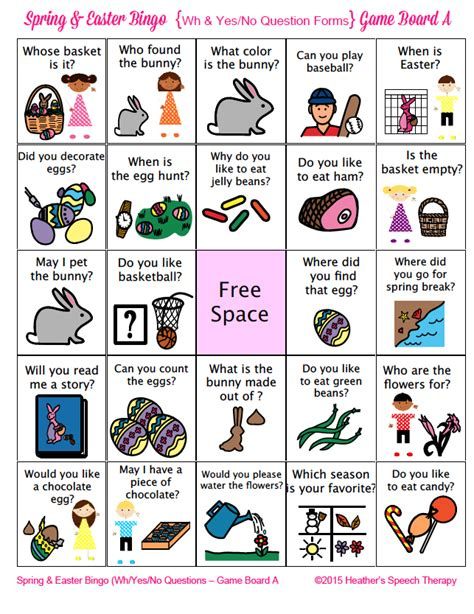 Spring And Easter Wh And Yes No Questions Bingo