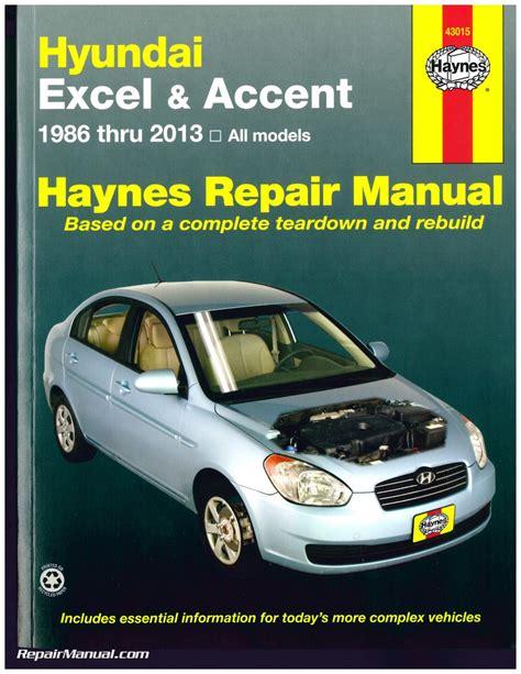 car maintenance manuals 1992 hyundai excel user handbook hyundai excel accent 1986 2013 haynes auto repair service manual