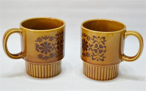 japanese coffee mugs vintage brown stackable japan coffee mugs set of 2