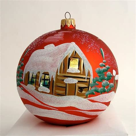 painted christmas balls items similar to painted ornament glass snow covered