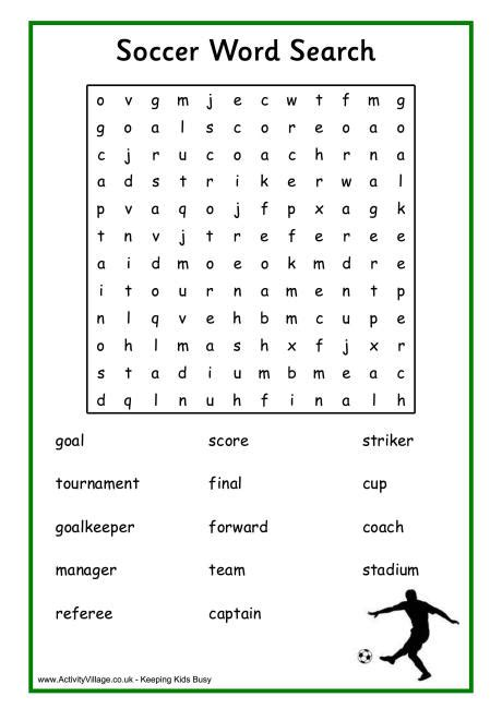 printable word search soccer soccer word search
