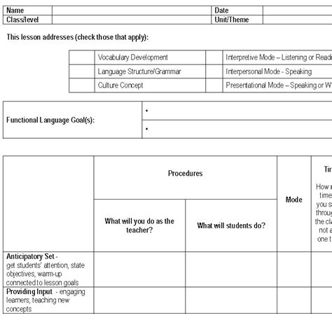 foreign language lesson plan template lesson plans