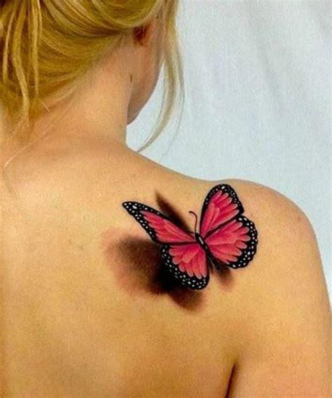 tattoo 3d femme tatouage femme papillon 3d rose et noir epaule tatoo