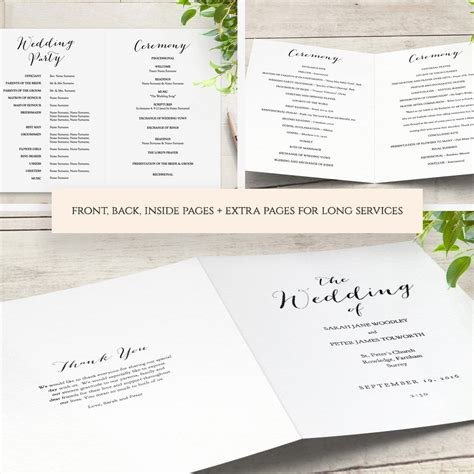 Booklet Wedding Program Template Church Order Of Service Printable Templates Multiple Page Multi Page Brochure Template Free