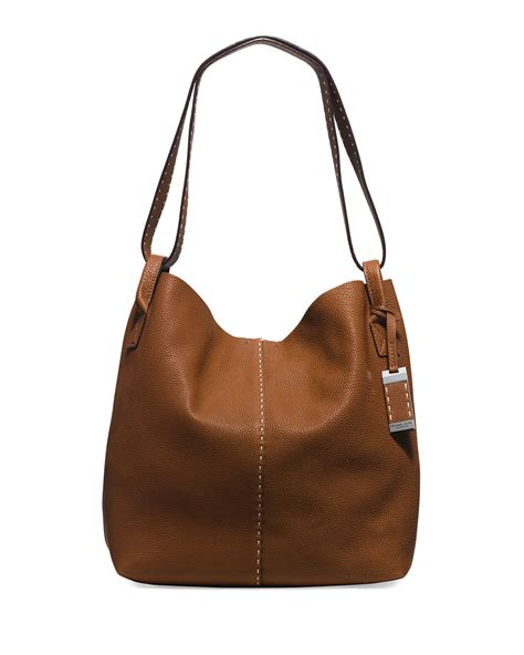 Michael Kors Mesh Hobo Purse by Michael Kors Rogers Large Leather Hobo Bag In Brown