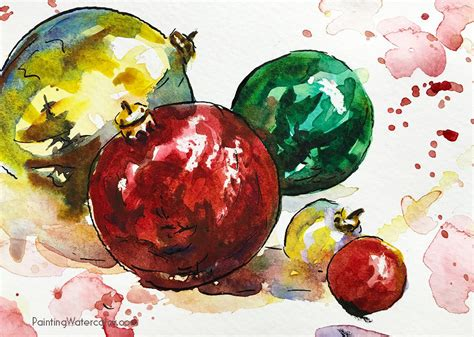 portofino christmas ornaments painting watercolor learn watercolor painting