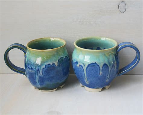 Handmade Clay Pottery - pair of mugs mystical glazed handmade ceramic
