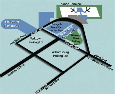 Newport Parking Garage Rates by Airport Parking Map Newport News Airport Parking Jpg