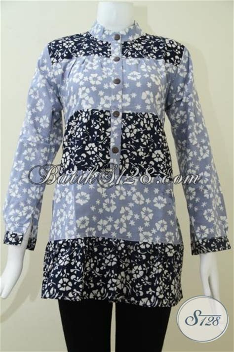 Dompet Wanita Murah Zmp02 Biru Muda blus wanita batik paduan warna biru muda dan biru tua