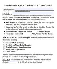 hipaa compliant release of information template sle hipaa compliant release form 8 exles in word pdf