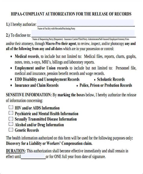 7 Sle Hipaa Compliant Release Forms Sle Templates Hipaa Compliant Release Of Information Template