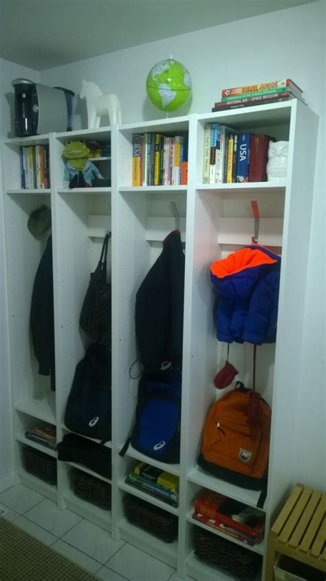 entryway bookcase built in entryway cubbies using billy bookcases ikea hackers