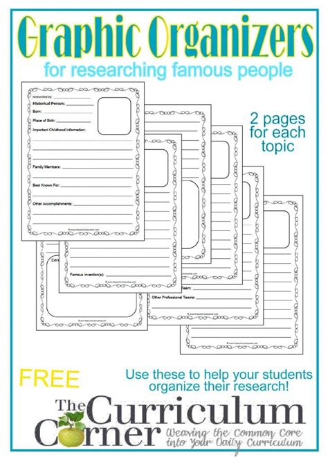 elements of a biography graphic organizer famous people research graphic organizers famous people