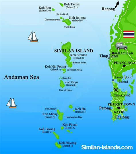 sea islands map about the similan islands similan islands national park