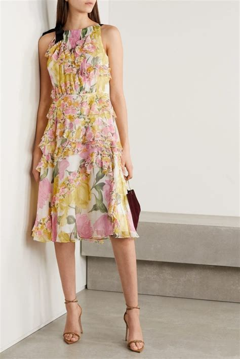 jason wu collection grosgrain trimmed ruffled floral silk