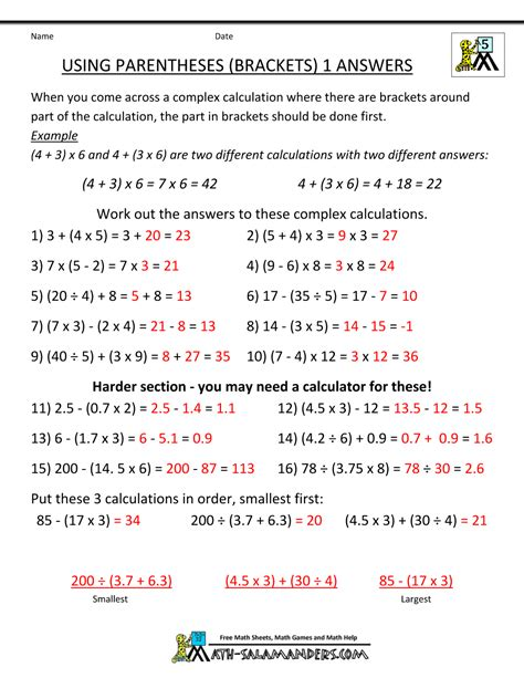 5th Grade Math Worksheets With Answers by Math Worksheets 5th Grade Complex Calculations