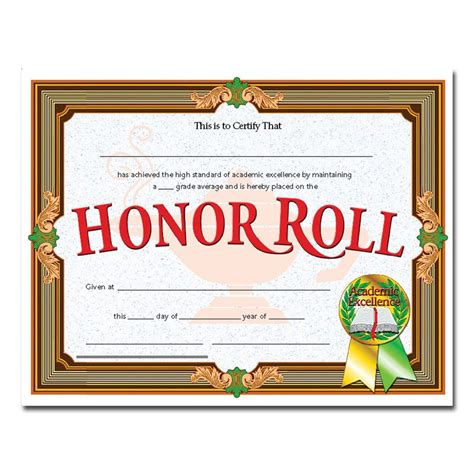 certificates honor roll gold banner