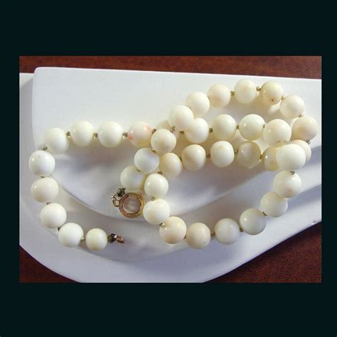 white coral bead necklace 14k yellow gold white coral bead necklace from