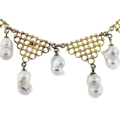 pearl chandelier yellow gold baroque pearl chandelier necklace