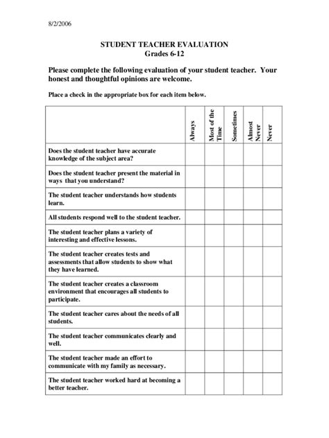 Student Teacher Evaluation Form   2 Free Templates in PDF