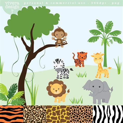 safari clipart jungle safari animal clip art monkey tiger giraffe zebra