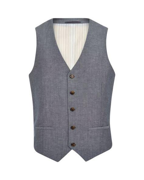Single Breasted Vest river island blue crosshatch single breasted vest in blue
