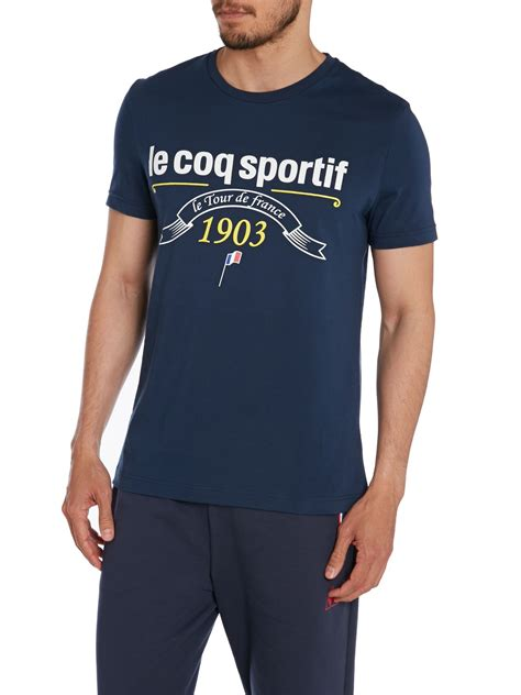 Kaos Le Coq Sportt Shirt le coq sportif logo crew neck regular fit t shirt in blue for lyst