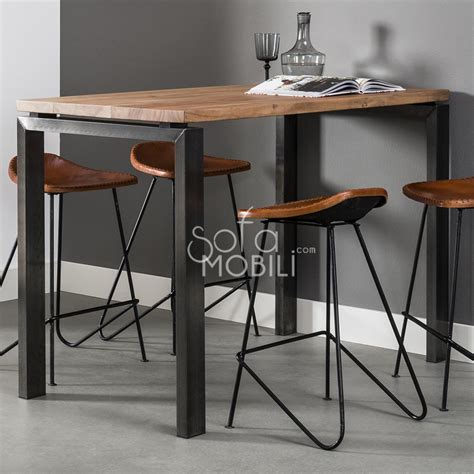 Table Haute En Bois by Table De Bar Style Industriel Sofamobili