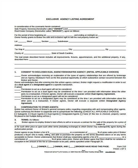 6 Exclusive Agency Agreement Form Sles Free Documents In Word Pdf Exclusive Agency Agreement Template