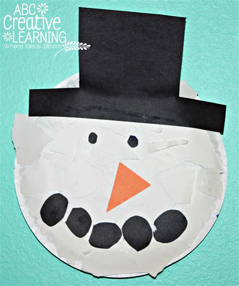 Paper Plate Snowman Craft - torn paper plate snowman craft