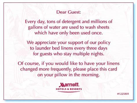 marriott hotels resorts linen saver tent card option