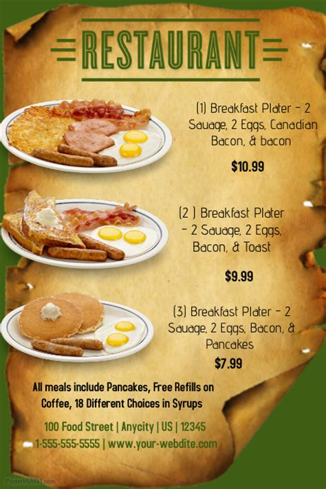 Restuarant Breakfast Menu Template Postermywall Breakfast Flyer Template