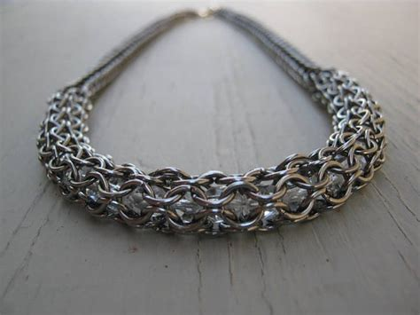 captured bead chainmaille necklace chainmaille necklace captured bead