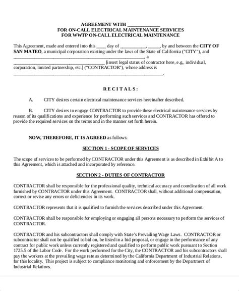 electrician contract template maintenance agreement templates 8 free word pdf format