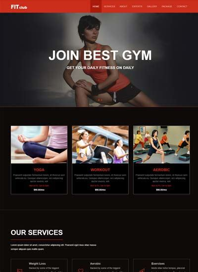 Free Website Templates And Bootstrap Themes Webthemez Fitness Website Design Templates