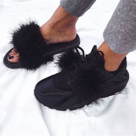 furry house shoes shoes fur slides fur nike slippers furry nike sandals fluffy black black