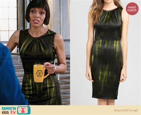 Camille Saroyan Wardrobe by Wornontv Camille S Black And Green Printed Dress On Bones Tamara Clothes And