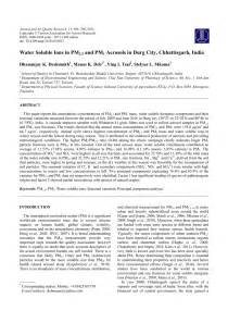 (PDF) Water Soluble Ions in PM 2.5 and PM Aerosols in Durg City