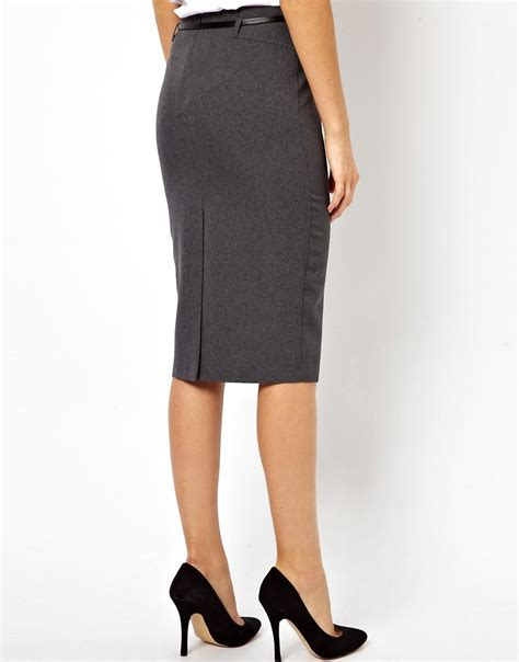 asos asos belted pencil skirt in longer length at asos