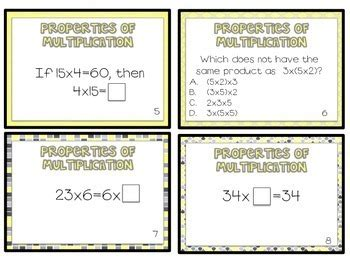 3 Oa 5 Worksheets by The Properties Of Multiplication Task Cards 3 Oa 5 By