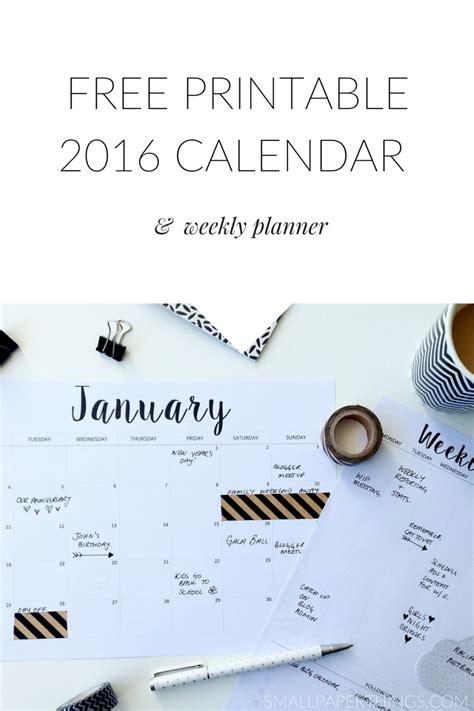printable calendar 2016 minimalist free printable calendar 2016 weekly planner printable