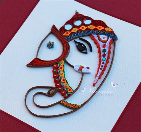 Handmade To Order - made to order handmade paper quilling lord ganesha framed