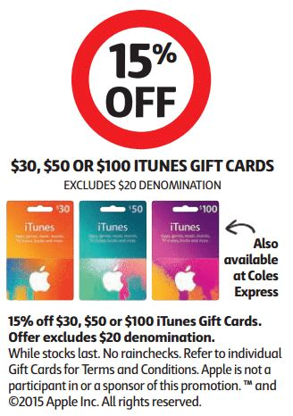 Coles Gift Cards Discount - expired save 15 off itunes gift cards at coles and coles express gift cards on sale