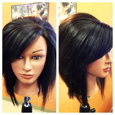 stacked bob haircut with bangs inverted stacked bob with swoop bangs hair beauty