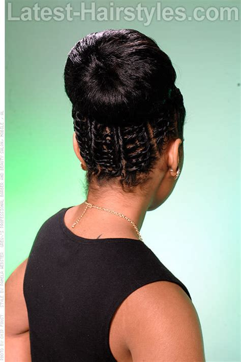 images of black braided bunstyle with bangs in back hairstyle african american black bride wedding hair natural